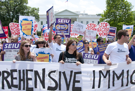 SEIU members call for Comprehensive Immigration Reform in front of the White House