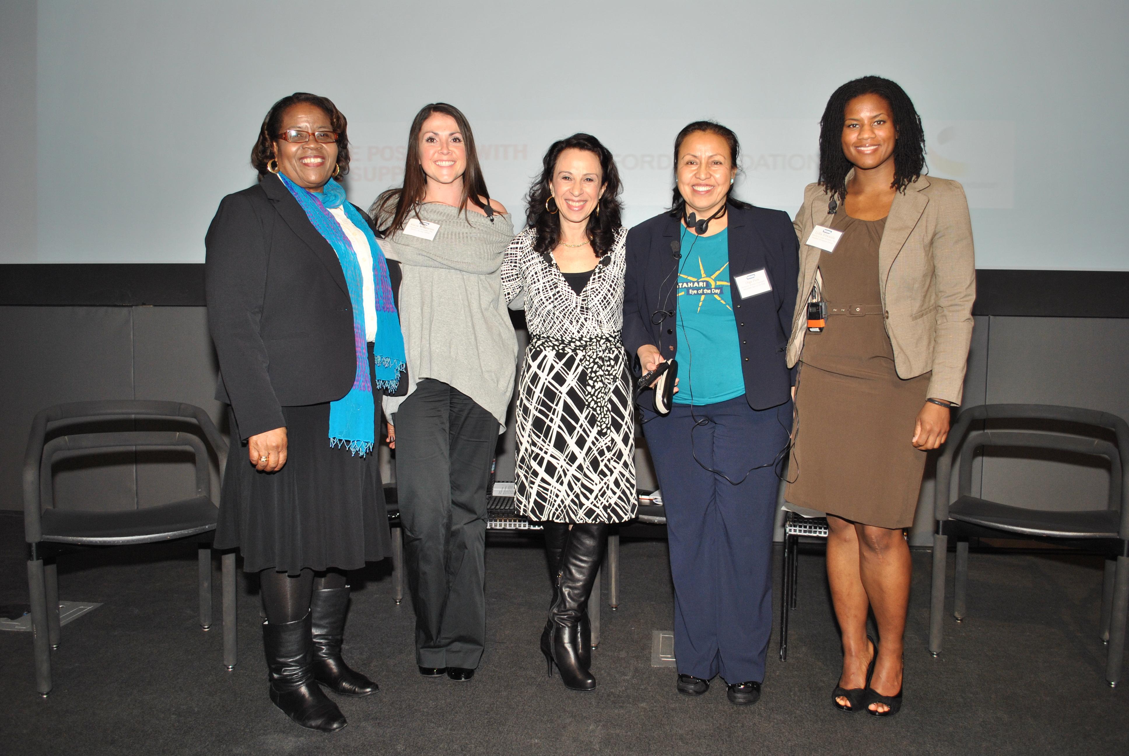 L-R: Barbara Young, Alicia Mazzarini, Maria Hinojosa, Olga Piox, Lydia Edwards