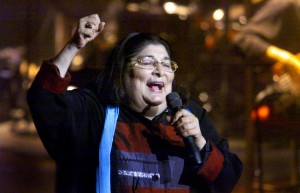 The Argentine singer Mercedes Sosa performs a spec