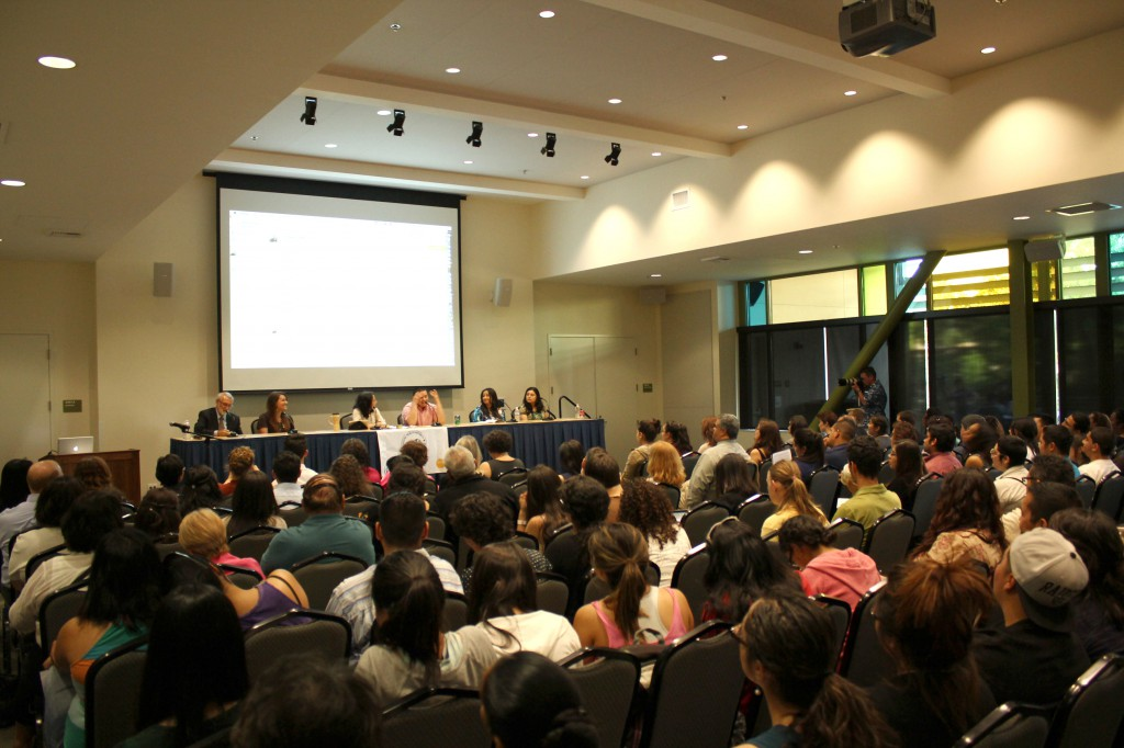 Standing-room-only crowd in the UC Davis Student Community Center