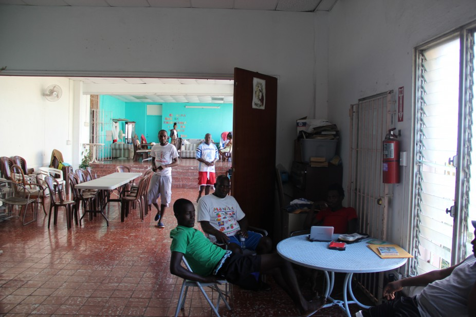 Photo 5: The rectory at Father Olin Pierre's church in San Juan has become a makeshift refugee center for Haitian migrants. (Photo: Marlon Bishop)