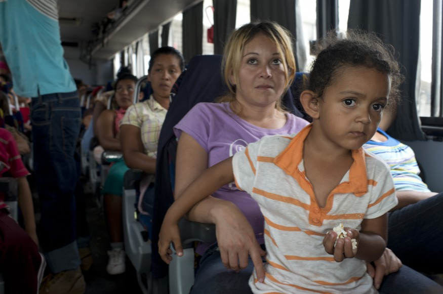 "A Honduran mother and her daughter travel on a bus en route to the US. According to ""La 72"", a migrant shelter in the South of Mexico, the female and minor population in the shelter has increased by more than 70% ."