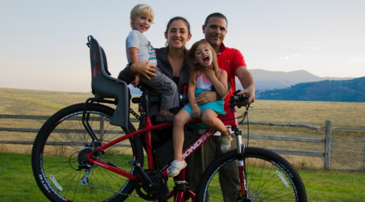 Family with bike in Montana before starting