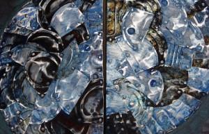 1 | Julio | 2015 | Tucson, Arizona  Cuadro realizado por el artista Álvaro Enciso, artista colombiano que reside en Tucson Arizona, que realiza obras de arte a partir de latas que encuentra en las rutas migrantes del desierto sonorense.  Alicia Fernandez / Roundearthmedia / Diario de Juarez / Latino USA