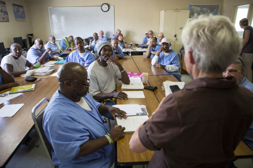 Sharon Fleming, Professor Emerritus of Epidemiology and Public Health at University of California, Berkeley, leads a diabetes education class at San Quentin Prison.
