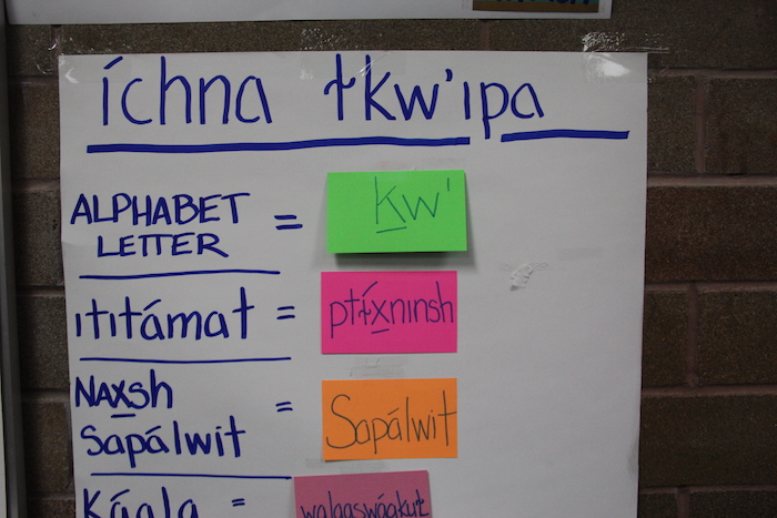 A poster with words in the native Ichiiskin language, on the wall in a White Swan High School classroom.