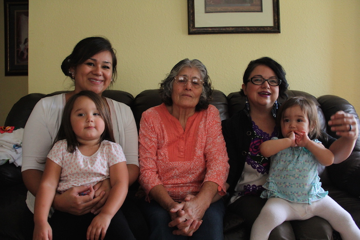 The Marquez family is in many ways typical of families living on the Yakama Nation. Guadalupe and her daughter Yesenia Marquez (right) were born in Jalisco, Mexico and migrated here. Guadalupe's daughter Rena (left) is mixed Mexican, Yakama and Filipina.