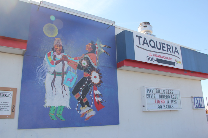 TK gas in Toppenish (the reservation's largest town) is painted outside with Native American dancers. Inside, there's a taqueria and Mexican products are sold.