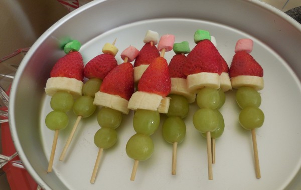 Christmas-themed fruit kebabs for the class party/Marissa Ortega-Welch