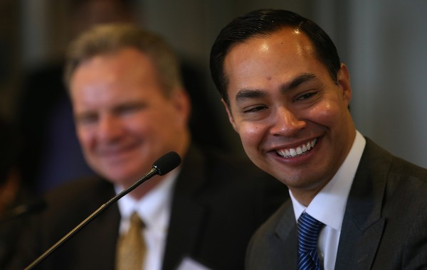 SUNNYVALE, CALIFORNIA - APRIL 08:  Housing and Urban Development secretary Julian Castro looks on during a round table discussion after touring a new affordable housing facility on April 8, 2016 in Sunnyvale, California. HUD secretary Julian Castro and U.S. Rep Mike Honda (D-CA) toured a new affordable housing facility aimed at helping recently homeless vets.  (Photo by Justin Sullivan/Getty Images)
