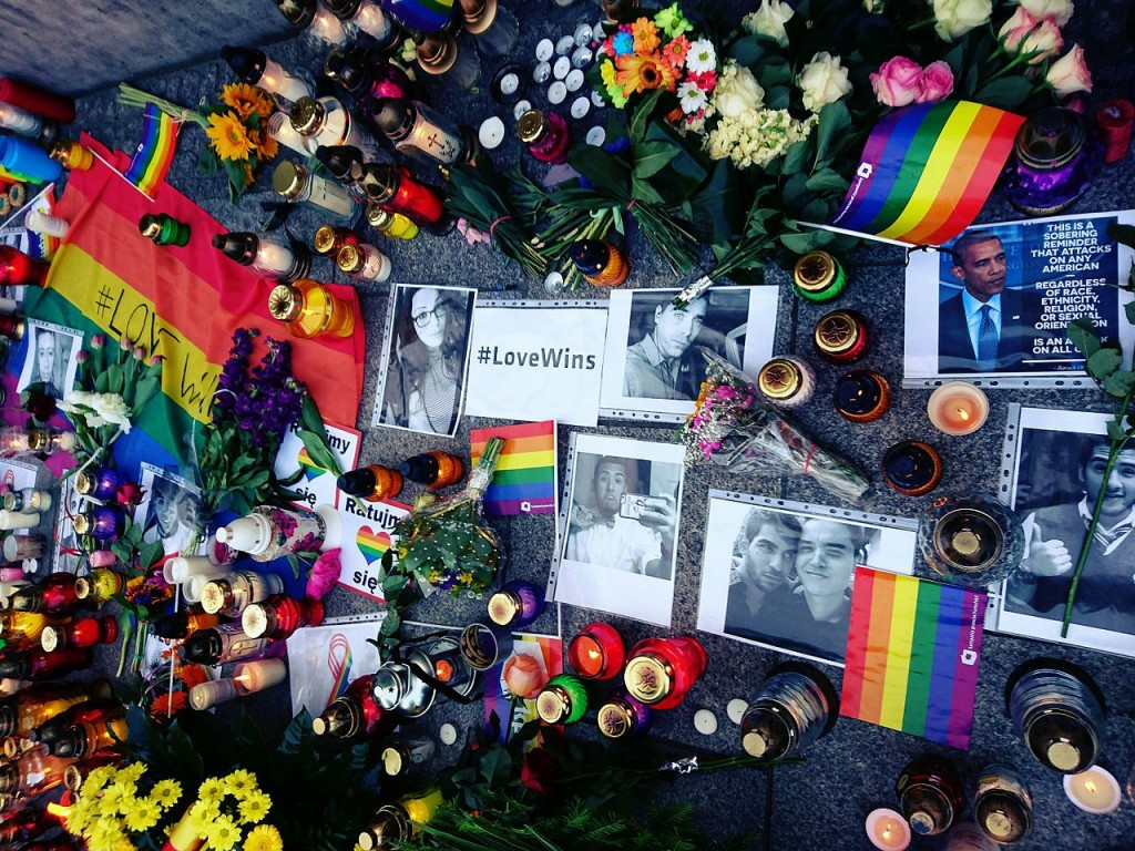 Memorial in Warsaw, Poland, for the victims of the Orlando Massacre.