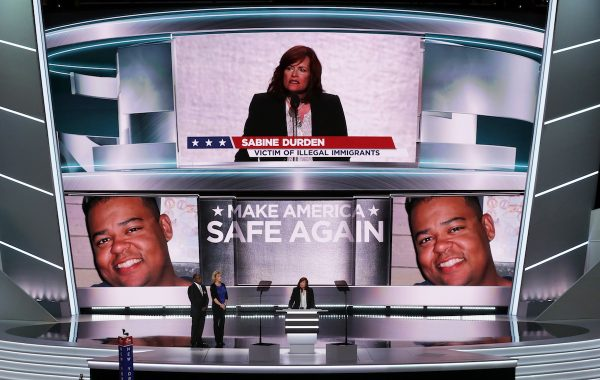 CLEVELAND, OH - JULY 18:  Sabine Durden delivers a speech on the first day of the Republican National Convention on July 18, 2016 at the Quicken Loans Arena in Cleveland, Ohio. An estimated 50,000 people are expected in Cleveland, including hundreds of protesters and members of the media. The four-day Republican National Convention kicks off on July 18. (Photo by Alex Wong/Getty Images)