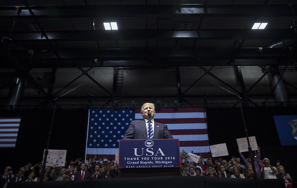 GRAND RAPIDS, MI - DECEMBER 9: President-elect Donald Trump speaks at the DeltaPlex Arena, December 9, 2016 in Grand Rapids, Michigan. President-elect Donald Trump is continuing his victory tour across the country. (Photo by Drew Angerer/Getty Images)