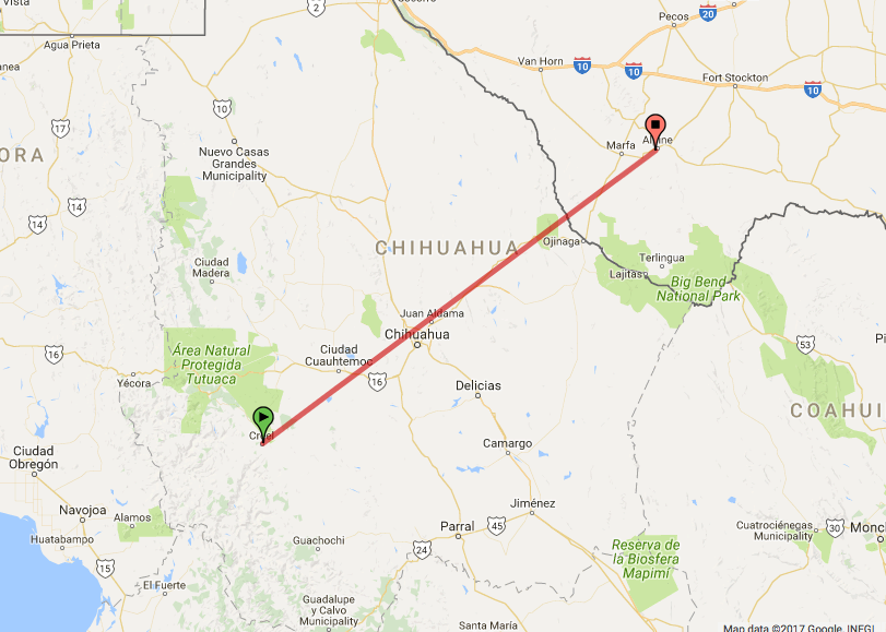 Creel, Mexico is about 300 miles from Alpine, Texas. (CREDIT: Google Maps)