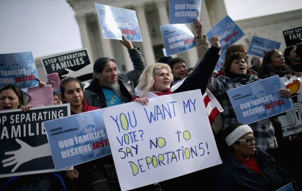 WASHINGTON, DC - JANUARY 15:  About fifty pro-immigration reform demonstrators gathered for a rally outside the United States Supreme Court  January 15, 2016 in Washington, DC. Organized by immigraiton advocacy group CASA, the demonstrators called on the Supreme Court to take up and overrule a lower court's ruling against President Barack Obama's 2014 immigration executive actions, including the Deferred Action for Parental Accountability (DAPA) program and expanded Deferred Action for Childhood Arrivals (DACA) guidelines.  (Photo by Chip Somodevilla/Getty Images)