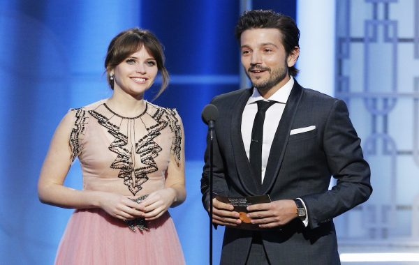 BEVERLY HILLS, CA - JANUARY 08: In this handout photo provided by NBCUniversal, presenters Felicity Jones (L) and Diego Luna onstage during the 74th Annual Golden Globe Awards at The Beverly Hilton Hotel on January 8, 2017 in Beverly Hills, California. (Photo by Paul Drinkwater/NBCUniversal via Getty Images)