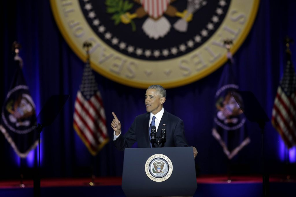 US President Barack Obama speaks during his farewell address in Chicago (JOSHUA LOTT/AFP/Getty Images)