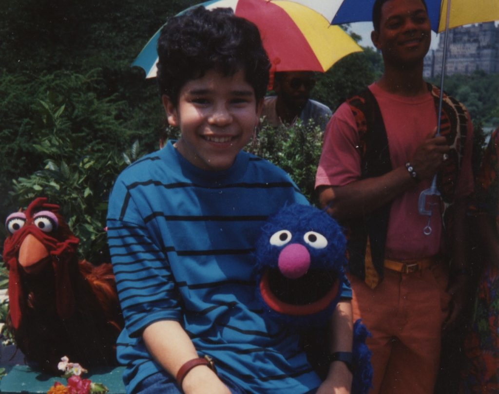 Carlo Alban on the set of Sesame Street. Image courtesy of Carlo Alban.