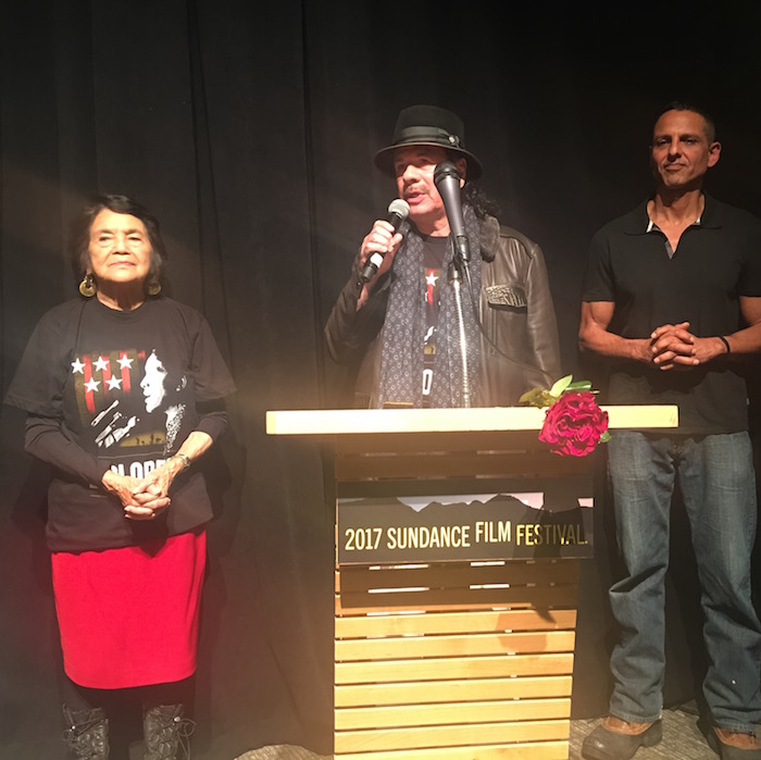 (L-R) Dolores Huerta, Carlos Santana and Peter Bratt address the audience at the 2017 Sundance Film Festival (Photo by Sharis Delgadillo)