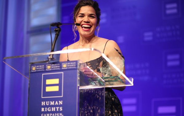 LOS ANGELES, CA - MARCH 18:  Honoree America Ferrera accepts the HRC Ally for Equality Award onstage at The Human Rights Campaign 2017 Los Angeles Gala Dinner at JW Marriott Los Angeles at L.A. LIVE on March 18, 2017 in Los Angeles, California.  (Photo by Christopher Polk/Getty Images for Human Rights Campaign)