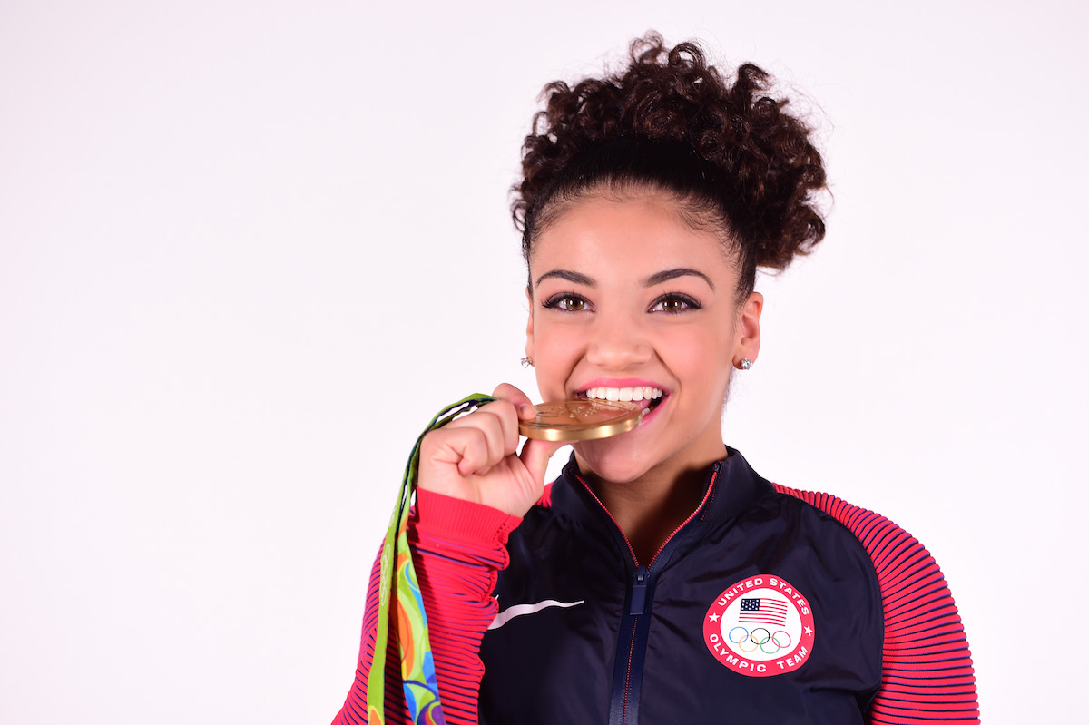 LOS ANGELES, CA - OCTOBER 05:  (EXCLUSIVE COVERAGE) Gymnast Laurie Hernandez poses for a portrait on October 5, 2016 in Los Angeles, California. Hernandez, from Old Bridge Township, New Jersey, won a gold medal in the team event for the United States and silver on the balance beam at the Rio 2016 Olympic Games. She is also competing on season 23 of Dancing with the Stars.  (Photo by Harry How/Getty Images)