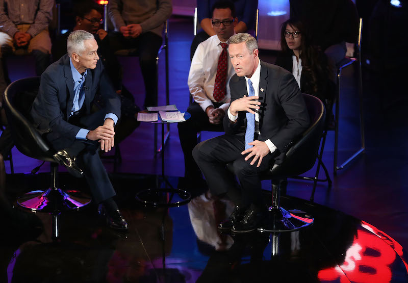 Martin O'Malley  speaks with Jorge Ramos (L) in 2016. (Joe Raedle/Getty Images)