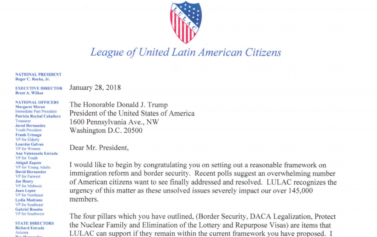 Lulac president says he wont resign over trump immigration letter part of a january 28 letter from lulac president roger c rocha jr to president trump thecheapjerseys Choice Image